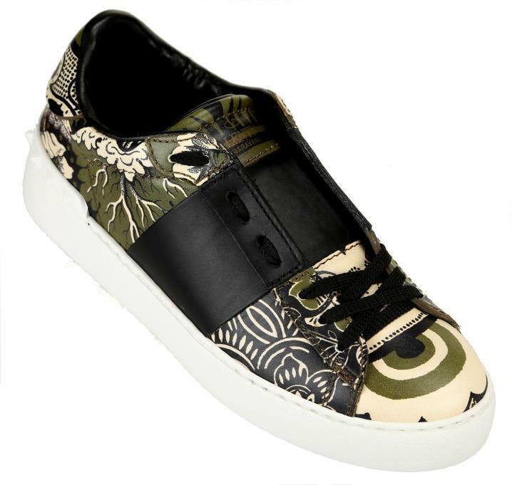 NEW VALENTINO GARAVANI FLORAL LEATHER ROCKSTUD SNEAKERS MOCCASINS SHOES 37.5
