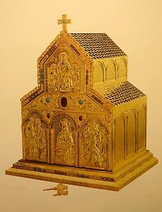 """+ Ornate Romanesque Tabernacle + All Goldplated + 35 1/2"""" ht. + chalice co."""
