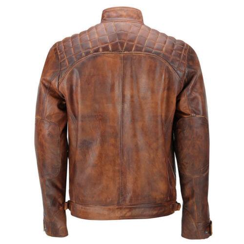 Zip Rub Nero Retrò Giacca Motociclista Vintage Pelle Vera marrone I Da Con Uomo qvfnaxfSH