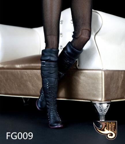 "1//6 Black Plastic Women/'s Long Boots Shoe For 12/"" Phicen HT Female Figure FG009"