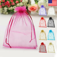 50pcs 2 Sizes Strong Candy Gift Bag Sheer Organza Wedding Christmas Favor Pouch