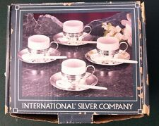 Silver Plated Demi Tasse Set of 4 International Silver Comp- Cup, Saucer, Spoon