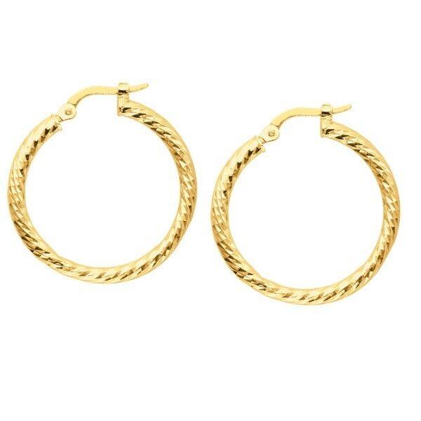 Hoop Earrings 14k Yellow Gold Twist Diamond Cut 1 For Online Ebay