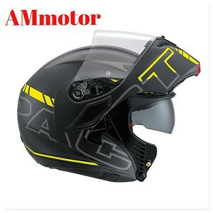 Agv-Compact-St-Seattle-Matt-Black-Silver-Yellow-Sz-XL-abatible-Casco-de-Moto