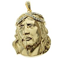 Big Jesus Piece Hip Hop Pendant Gold Finish Iced Out Crown Bling Mens Huge Charm