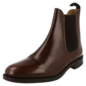 Hombre-Loake-marron-oscuro-leather-bota-sin-cordones-290T-Ajuste-F