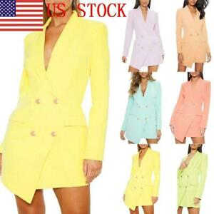 US-Women-039-s-Double-Breasted-Blazer-Dress-Lapel-Collar-Long-Sleeve-Mini-Dress-GIFT