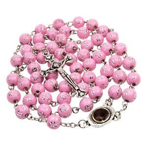 Catholic Pink Rosary Beads Decorated Crucifixion & Holy