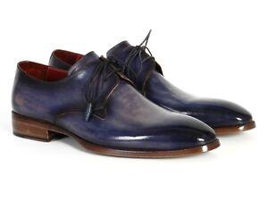 9e5aab3cc1c Details about Paul Parkman Men s Blue   Navy Hand Painted Derby Shoes - Hand  Made