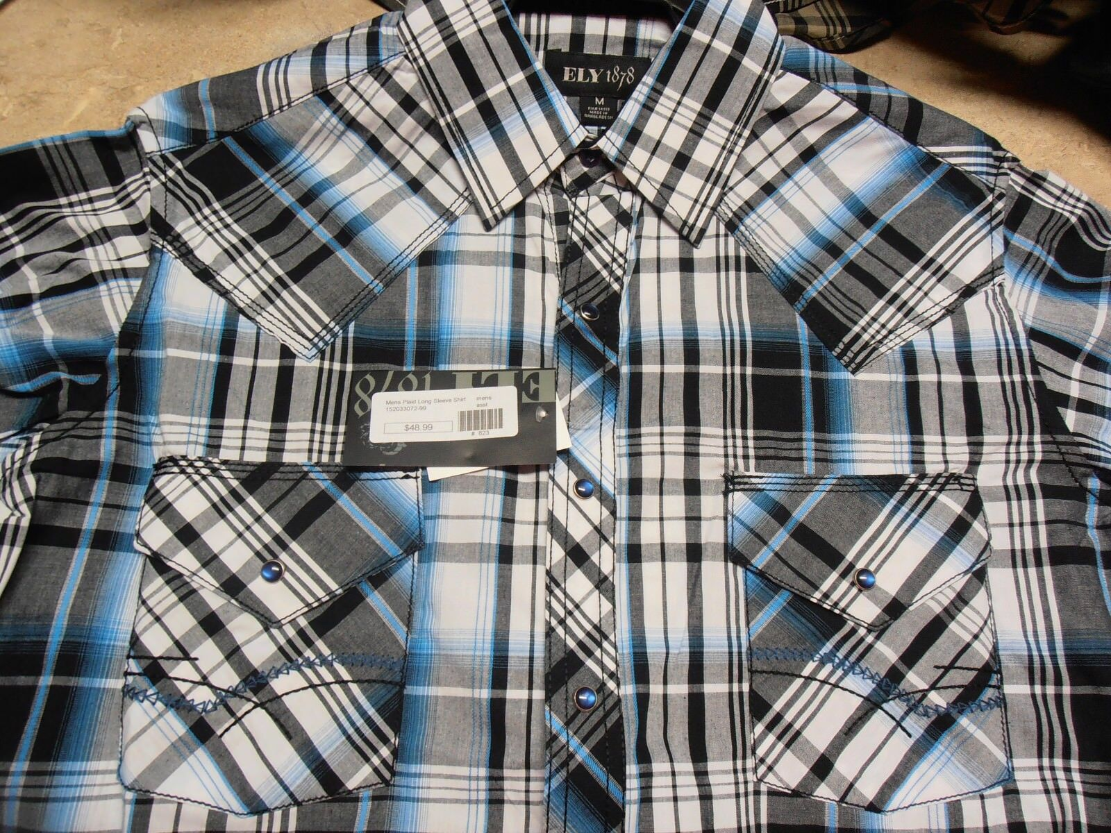 Mens Ely Turquoise Plaid Western Horse Show Rodeo Farm Ranch Dress Shirt Snaps