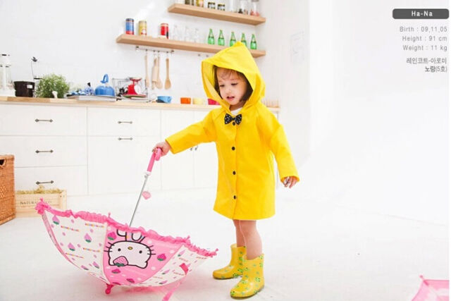 Super Cute Girls Children Cartoon Rain Coat Baby Raincoat Kids Rainwear Yellow
