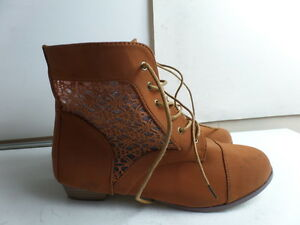 Women-039-s-Bonnil-el-Lace-Up-See-through-booties-Brown-Size-7-5-M-US