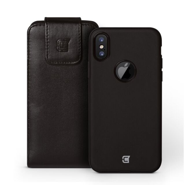 iPhone X Magnetic Leather Vertical Holster Pouch (fits with Skin Shield case)