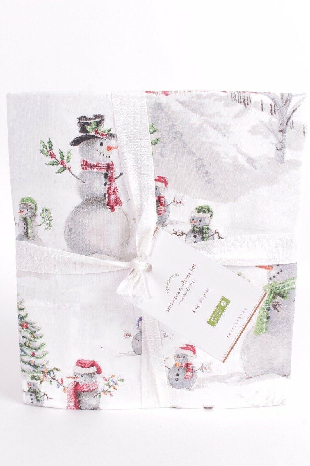 NWT Pottery Barn Snowman 100% cotton percale King sheet set