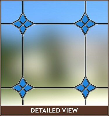 New MONTEREY BLUE Stained Glass Window Film Vinyl Static Cling Films Door Decor