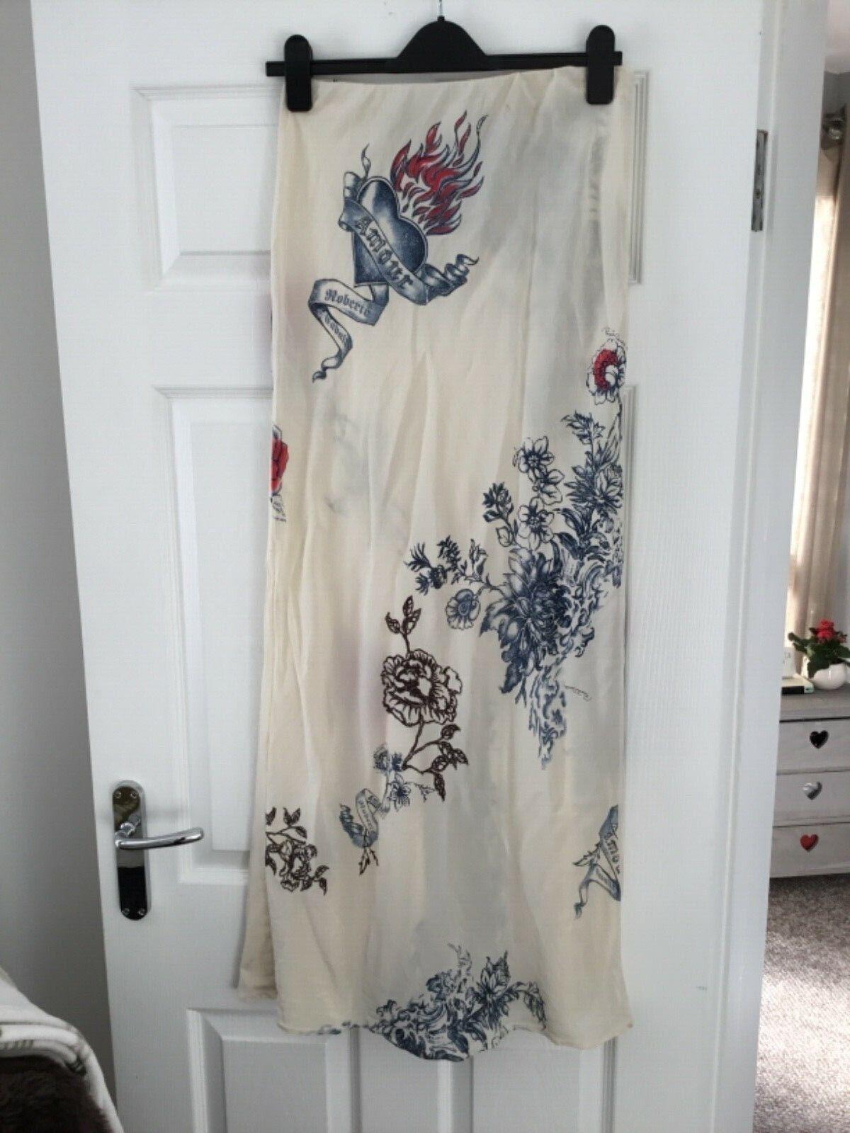 Roberto  Cavalli longitud larga señoras de seda Falda Talla Xs (uk6) Diseño Floral Tigre  almacén al por mayor