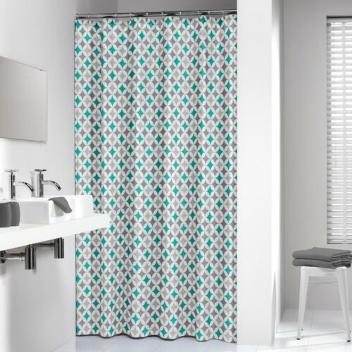 Extra Long Shower Curtain 72 x 78 Inch Sealskin Diamonds Aqua