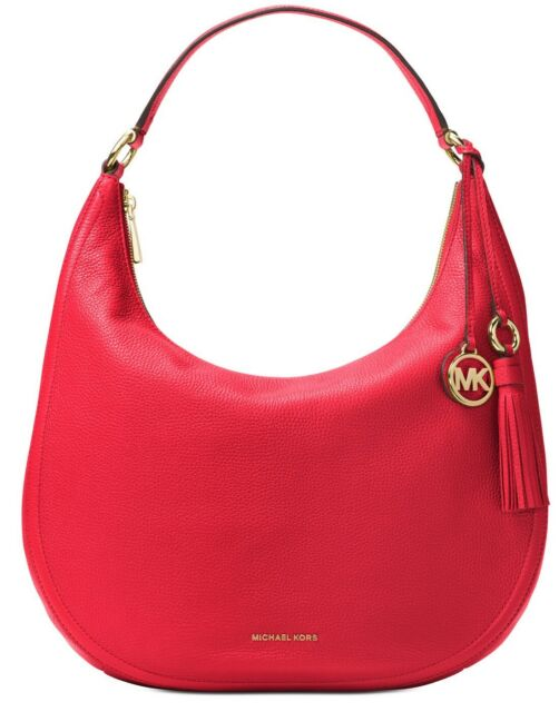 0c352ea64b0e Michael Kors Lydia Large Hobo With Tassel Bright Red Genuine Leather