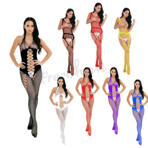 4ab655590 Image is loading Women-Hollow-Out-Crotchless-Fishnet-Bodystocking-Lingerie- Stripper-