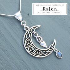 Celtic Knot Pentagram Moon, Goddess & Labradorite Pendant Wicca Pagan