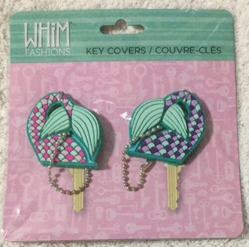 Whim Fashions Key Cover Chain Gift Set 2 Pink Purple Green Mermaid Beach NIB DA