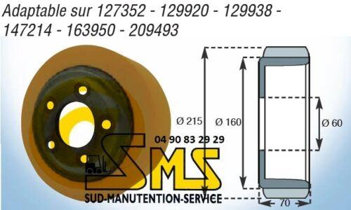 ROUE MOTRICE BT 215 75 70 mm TRANSPALETTE ELECTRIQUE GERBEUR s16d