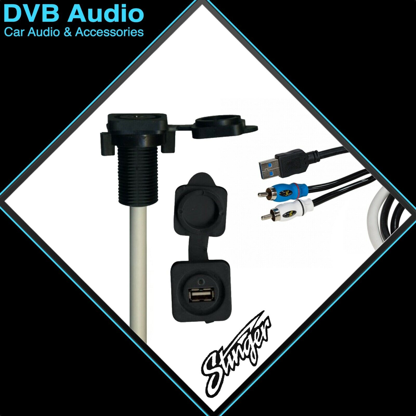STINGER MARINE 3.5MM AUDIO INPUT TO MALE RCA & USB 3.0 SMRAUXUSB3 FREE DELIVERY