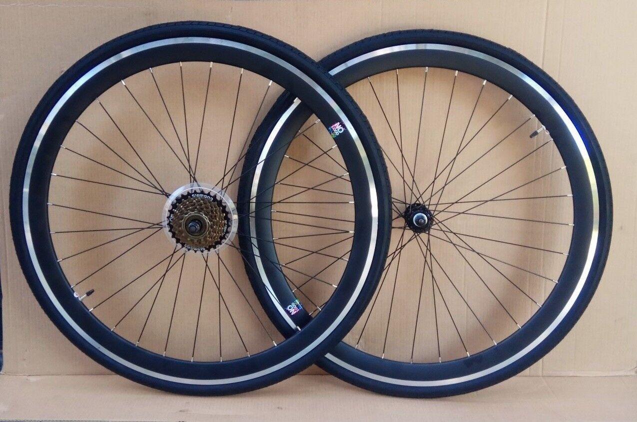 7 21 speed schwarz Racing Road Gear Bike Bikes wheels wheelsets 700c Front +Rear