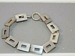 PreOwned-Barra-35-5-grams-Sterling-Silver-Toggle-Tire-Tread-Link-Bracelet-7-75-034