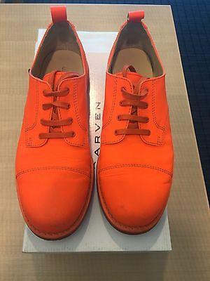 Neon Fluorescent Orange CARVEN Lace-Up Leather Derby Oxfords EU 43 US 10-10.5