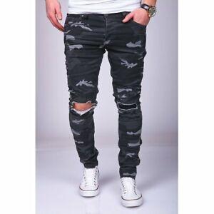 JEANS-Uomo-Biker-Jeans-Pantaloni-MIMETICO-NERO-STRAPPATI-SLIM-FIT-John-Kayna