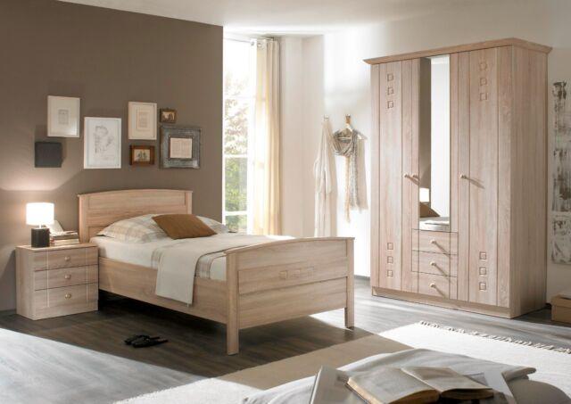 Schlafzimmer komplett 3 tlg Eiche Schrank Seniorenzimmer Bett Buche 100x200  cm