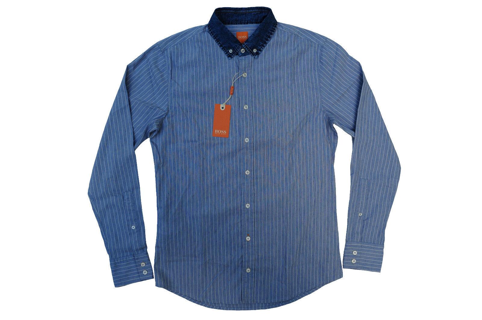 NEU gr. M HUGO BOSS Orange HEMD JEPREPPY_1 SLIM FIT DARK-Blau zu Jeans 50377866