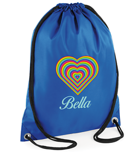 Custom Drawstring Bag Rainbow Heart Personalised Gym PE Print Back to School