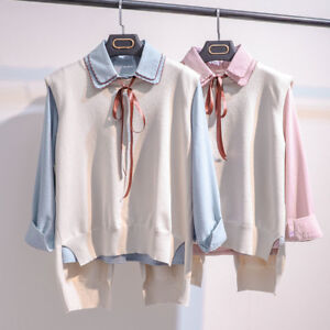 Korean-2Pcs-Women-Loose-Tops-Shirt-Vest-Ladies-Casual-Blouse-Sleeveless-Jacket