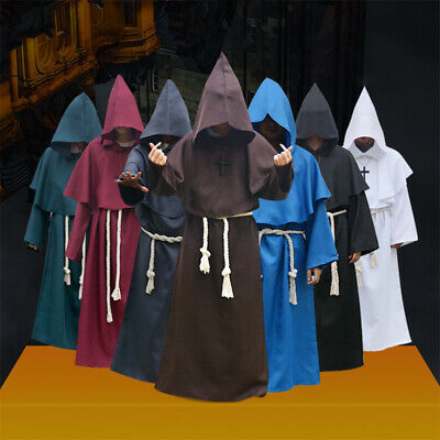 Halloween Medieval Monk Robe Wizard Friar Priest Cowl Cosplay Party Costume Set