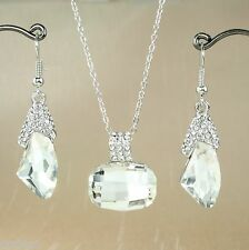 S3 Wedding Bridal Party Prom Clear Rhinestone Crystal Necklace Earrings Set