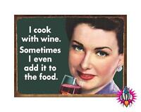 I COOK WITH WINE VINTAGE RETRO METAL WALL SIGN PLAQUE KITCHEN NEW