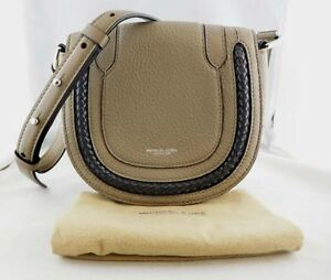7f4972f47555 Image is loading MICHAEL-KORS-SKORPIOS-COLLECTION-Dark-Taupe-Leather- Crossbody-
