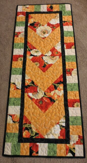Hand Made Quilted Table Runner/Topper ~ 17 1/2