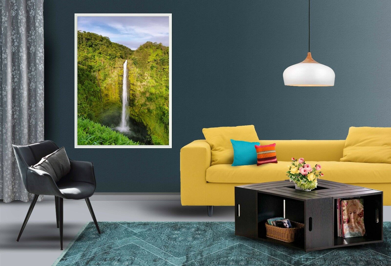 3D Eins Wasserfall 4 Gerahmt Poster Daheim Dekor Drucken Malerei Kunst AJ