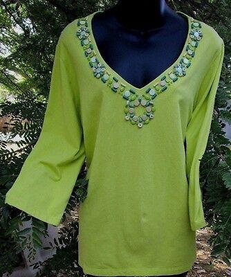 Women's 3/4 Sleeve Top Shirt Green Knit Size L