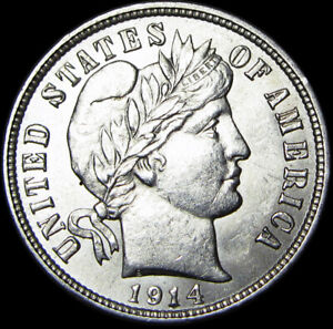 1914-D-Barber-Dime-Silver-US-Coin-GEM-BU-Condition-A848
