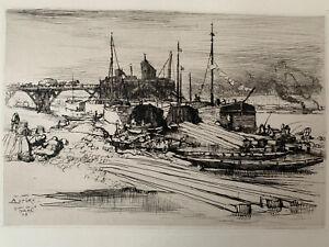 Auguste lepere engraving water strong etching quai de la gare paris seine
