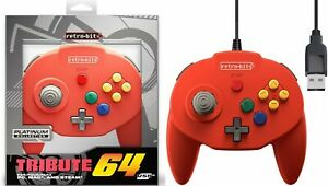 Retro-Bit-Tribute-N64-USB-Controller-for-PC-Mac-Nintendo-Switch-Red-NEW