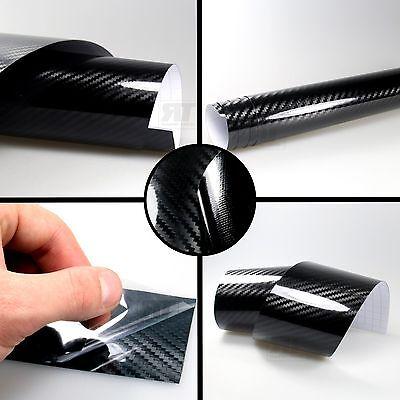 PREMIUM 2D + 4D + 5D Carbon Deko + Auto Folie schwarz Glanz Luftkanäle Wrap