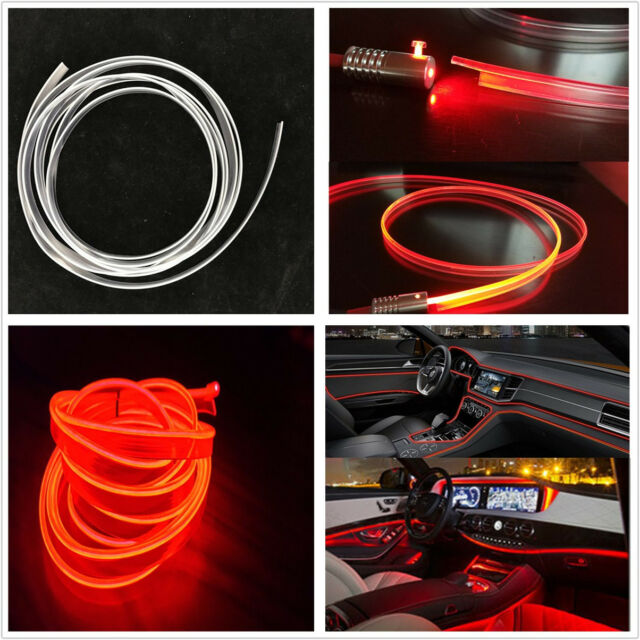 4m 12v Red Led Autos Fiber Optic Interior Lights Front Wind Net Decor Lamp Strip Ebay