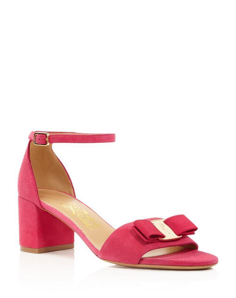 595 Ferragamo GAVINA Framboise Suede calf Ankle Strap Block Heel Sandal 5B