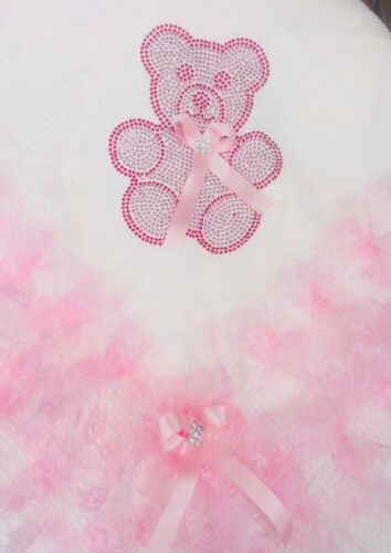 ROMANY BABY GIRL PINK SHAWL PINK LACE WITH BLING TEDDY BEAR DESIGN GORGEOUS
