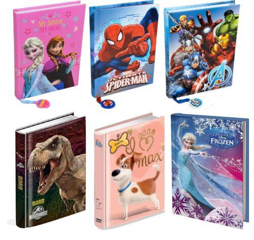Diario Scuola 10 mesi Frozen,Spiderman,Jurassic park,Avengers, Pets in Italiano